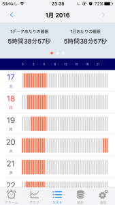 sleepmeisterの1週間分の結果が横棒グラフで確認でき