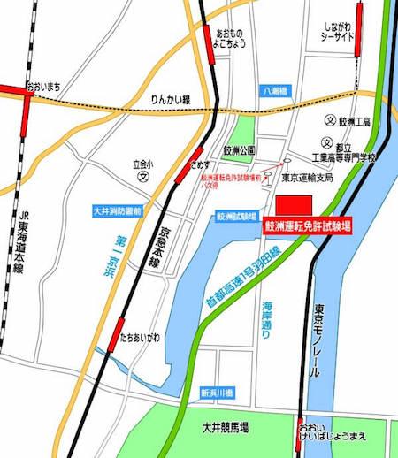 鮫洲試験場の地図