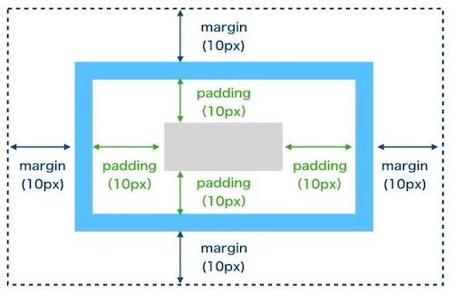 marginとpaddingを全て10pxで指定した場合
