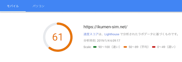 all in one seo pack削除後のPageSpeed Insightsでのサイト速度測定結果(モバイル)